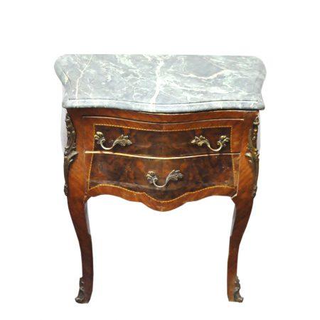 Coppia comodini antichi in legno e marmo